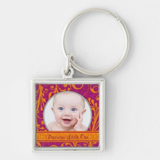 Pink Orange Floral Baby Photo Template Keychain