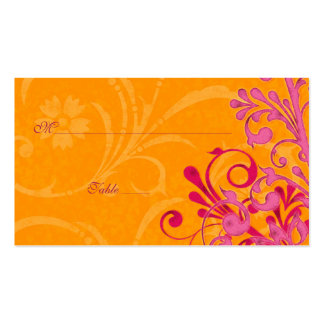Pink & Orange Floral Wedding Place or Escort Cards Pack Of Standard Business Cards