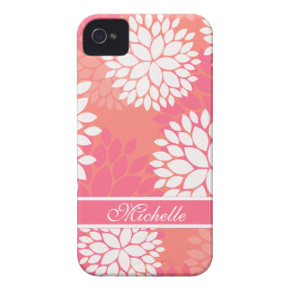 Pink Orange Flower Pattern iPhone 4 Case-Mate Cases