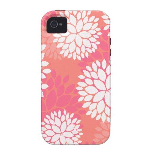 Pink Orange Flower Pattern Case-Mate iPhone 4 Cases