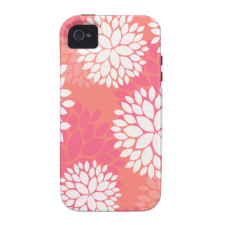 Pink Orange Flower Pattern Case-Mate iPhone 4 Covers