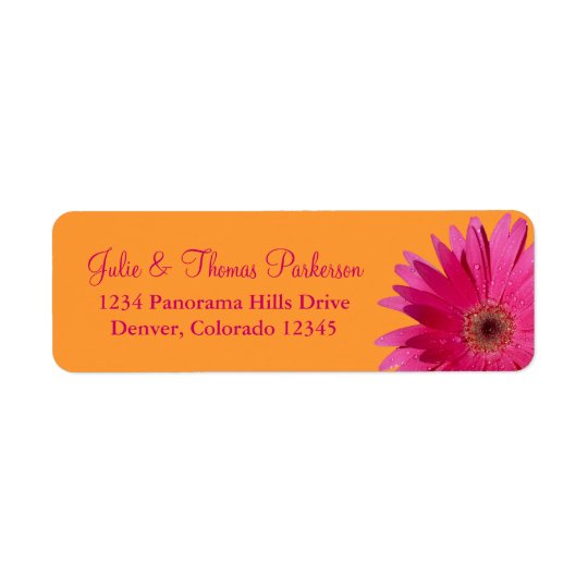 Pink Orange Gerbera Daisy Wedding Return Address Return Address Label