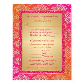 Pink, Orange, Gold FAUX Glitter RSVP Card 11 Cm X 14 Cm Invitation Card