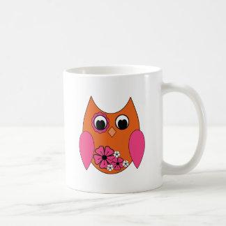 Pink & Orange Groovy Owl Basic White Mug
