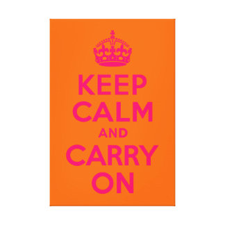 Pink Orange Keep Calm and Carry On Canvas Print