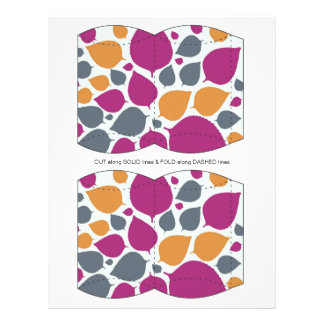Pink  & Orange  leaves Pillow Puff Box Template Personalized Flyer