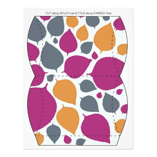 Pink  & Orange  leaves Pillow Puff Box Template Flyers