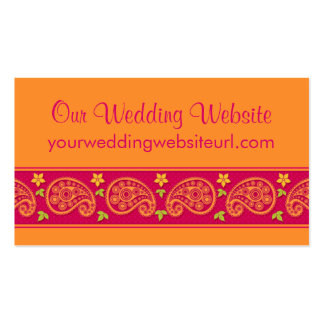 Pink Orange Paisley Floral Wedding Website Insert Business Cards