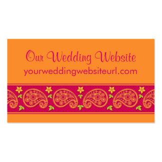 Pink Orange Paisley Floral Wedding Website Insert Pack Of Standard Business Cards