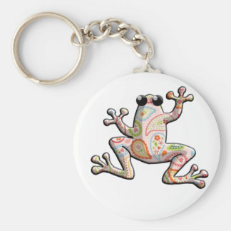 Pink Orange Paisley Frog Key Ring