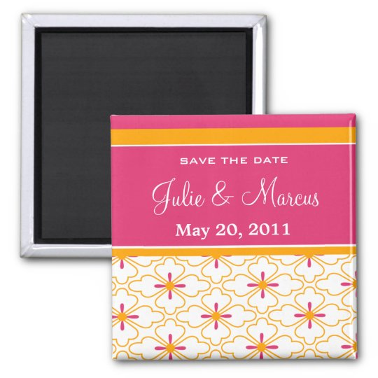 Pink & Orange Pattern Save The Date Magnets