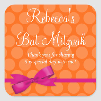 Pink Orange Polka Dot Printed Bow Bat Mitzvah Square Sticker