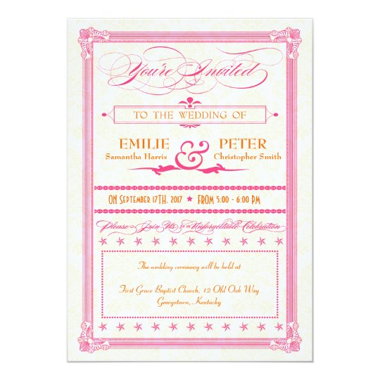 Pink & Orange Poster-Style Wedding Invite