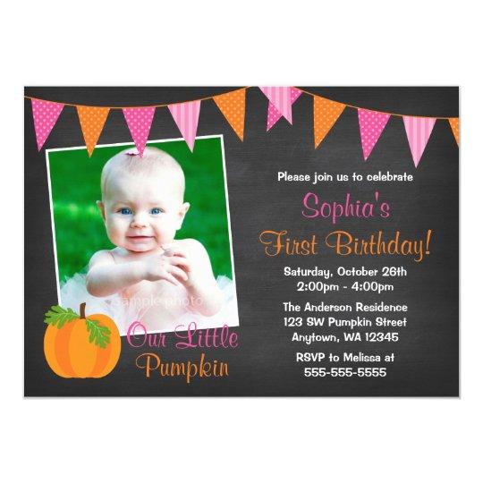 Pink Orange Pumpkin Chalkboard Girl Photo Birthday Card