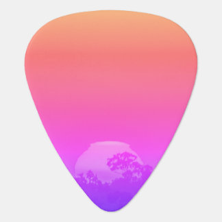 Pink Orange Rainbow Sunset with Tree Guitar Pick