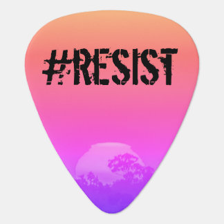 Pink Orange Rainbow Sunset with Tree #Resist Plectrum