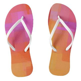 Pink Orange Squares Flip Flops