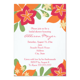 Pink Orange Tropical Hibiscus Flower Bridal Shower 11 Cm X 16 Cm Invitation Card