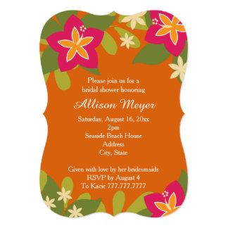 Pink Orange Tropical Hibiscus Flower Bridal Shower 5x7 Paper Invitation Card