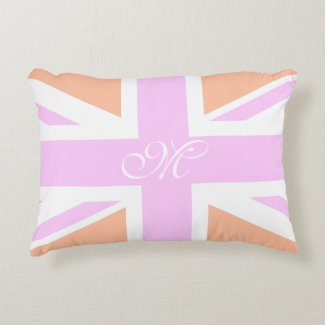 Pink & Orange UK Flag / Union Jack | Monogram Decorative Cushion