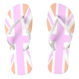 Pink & Orange United Kingdom Flag / Union Jack Flip Flops