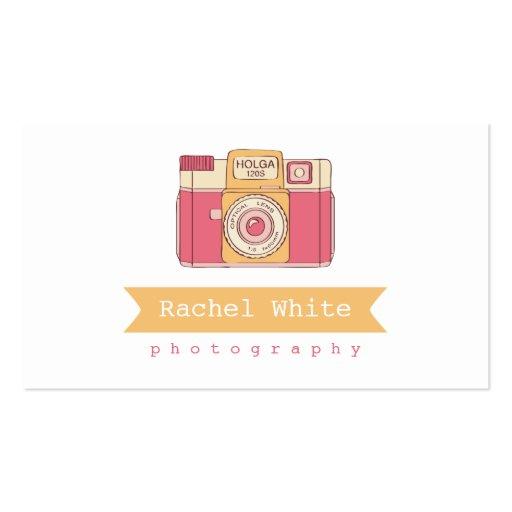 Pink & Orange Vintage Camera Biz Card Double Sided