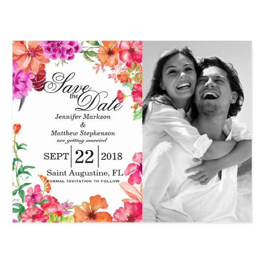 Pink Orange Watercolor Garden Save the Dates Postcard