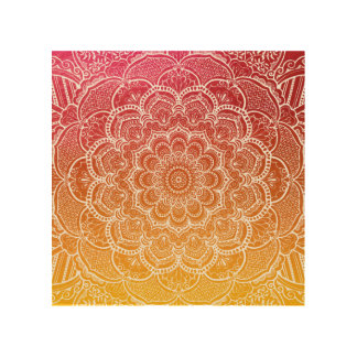 Pink Orange Watercolor Mandala Wood Wall Decor
