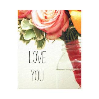 pink orange wedding flowers rose customize canvas print