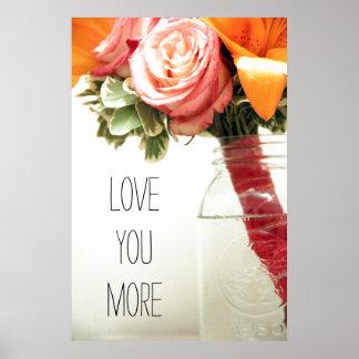 pink orange wedding flowers rose customize poster