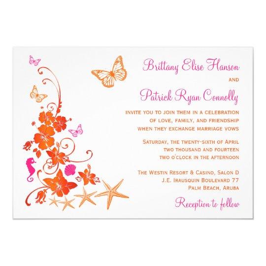 Pink, Orange, White Tropical Beach Wedding Invite