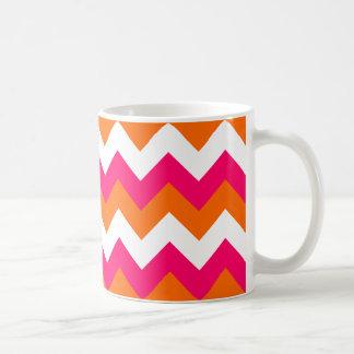 Pink Orange White Zigzag Coffee Mug