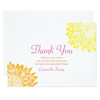 Pink, Orange & Yellow Mums Mums Thank You Cards 9 Cm X 13 Cm Invitation Card