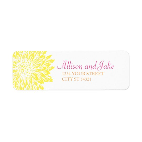 Pink, Orange & Yellow Mums Wedding Address Labels
