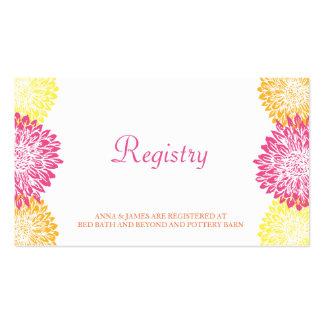 Pink, Orange & Yellow Mums Wedding Registry Card Pack Of Standard Business Cards