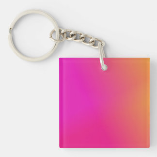 Pink Orange Yellow Ombre Double-Sided Square Acrylic Key Ring