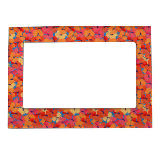Pink, Orange, Yellow Poppies Magnetic Photo Frame