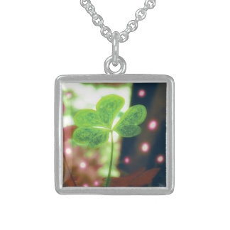 Pink Orb Lights Clover Personalized Necklace