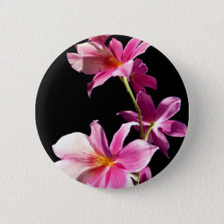 Pink Orchid. 6 Cm Round Badge