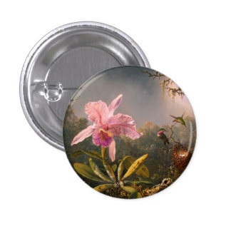 Pink Orchid and Three Hummingbirds Button