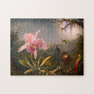 Pink Orchid and Three Hummingbirds Puzzle
