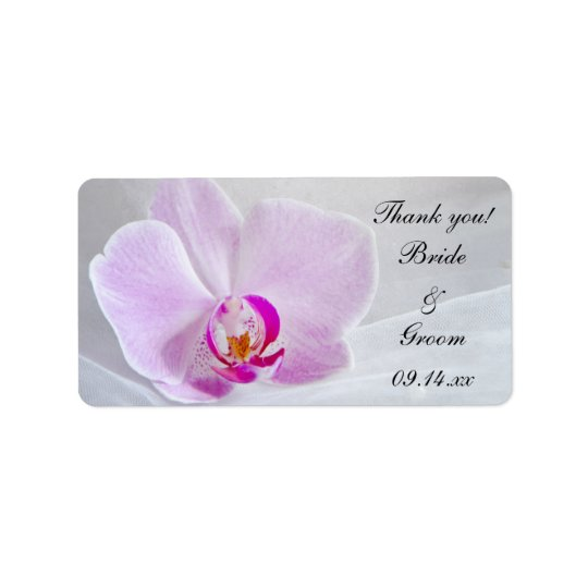 Pink Orchid and Veil Wedding Thank You Favour Tags Address Label