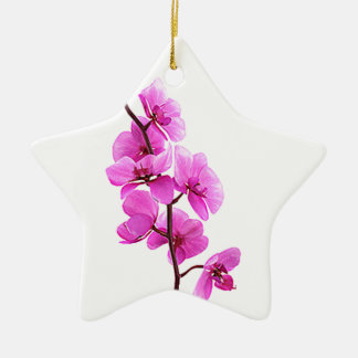 """Pink orchid"" Ceramic Star Decoration"