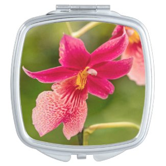 Pink Orchid Compact Mirror