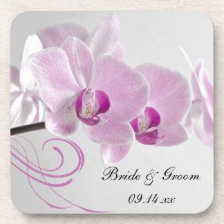 Pink Orchid Elegance Wedding Cork Coaster Set