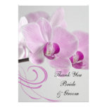 Pink Orchid Elegance Wedding Flat Thank You Notes Custom Announcement