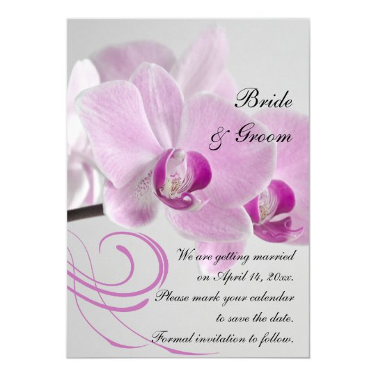 Pink Orchid Elegance Wedding Save the Date Card
