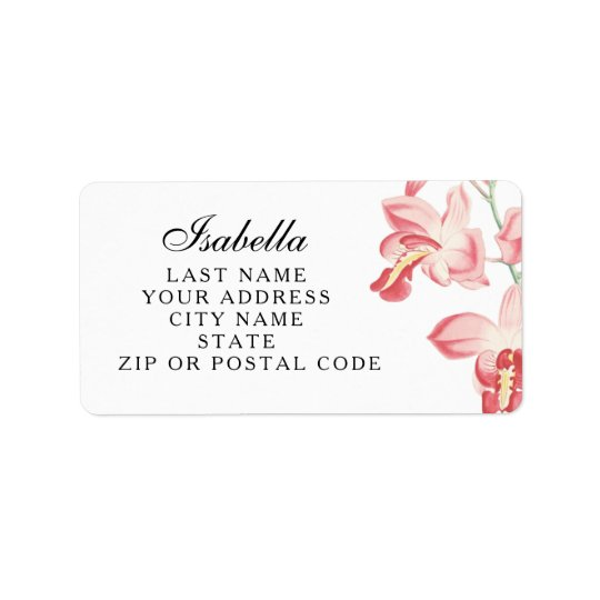 Pink orchid floral wedding address labels