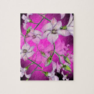 Pink Orchid Flower Print Jigsaw Puzzle