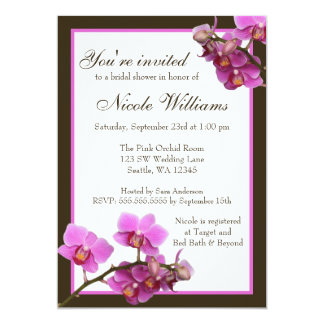 Pink Orchid Flowers Bridal Shower 13 Cm X 18 Cm Invitation Card